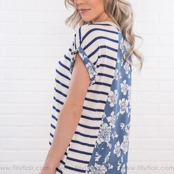 40599964eb ON YOUR MIND STRIPED FLORAL SHORT SLEEVE TOP. Boutique. Filly Flair